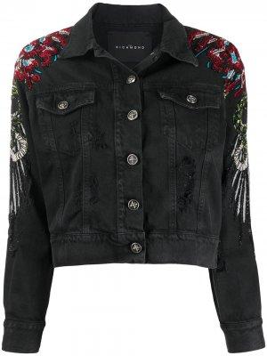 Джинсовая куртка с пайетками John Richmond. Цвет: черный