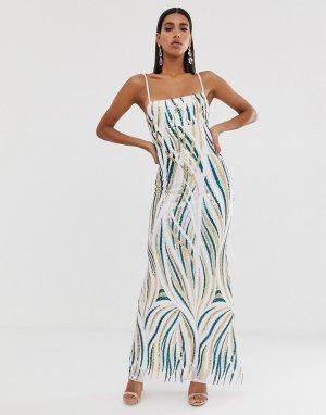Платье макси с квадратным вырезом и отделкой пайетками -Зеленый Goddiva