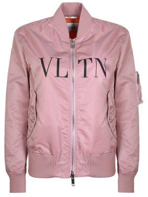Куртка-бомбер с принтом VLTN VALENTINO. Цвет: разноцветный