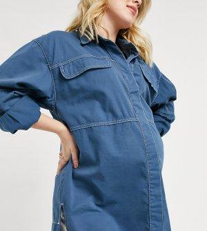 Синяя джинсовая рубашка в стиле oversized -Темно-синий Topshop Maternity