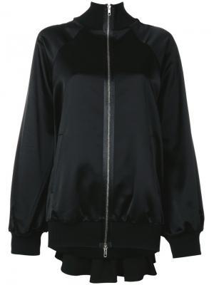 Сатиновая куртка-бомбер со складками Maison Margiela. Цвет: чёрный