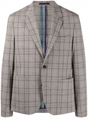 Однобортный пиджак в клетку PS Paul Smith. Цвет: нейтральные цвета