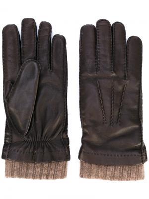 Перчатки с манжетами в рубчик Loro Piana. Цвет: коричневый