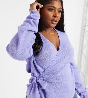 Лавандовый трикотажный джемпер с запахом и V-образным вырезом -Фиолетовый Glamorous Curve