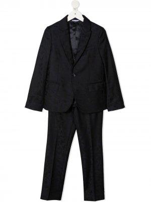 Жаккардовый костюм-двойка с однобортным пиджаком Dolce & Gabbana Kids. Цвет: синий