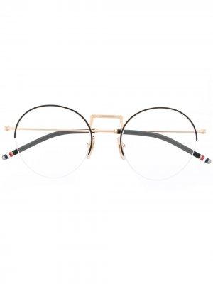 Очки в полуободковой оправе Thom Browne Eyewear. Цвет: золотистый