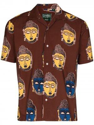 Рубашка Buddha Kalamkari с принтом Gitman Vintage. Цвет: коричневый