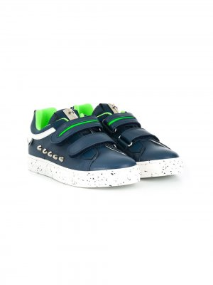 Кроссовки на липучках с заклепками Cesare Paciotti Kids. Цвет: синий