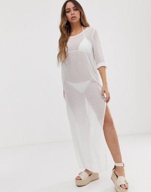 Белое пляжное платье макси в горошек -Белый Tavik