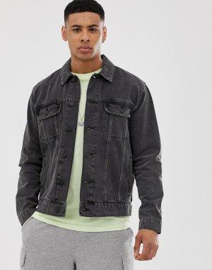 Черная выбеленная джинсовая куртка -Черный цвет ASOS DESIGN