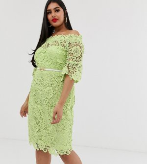Bardot crochet dress with fluted sleeve in lime-Зеленый Paper Dolls Plus