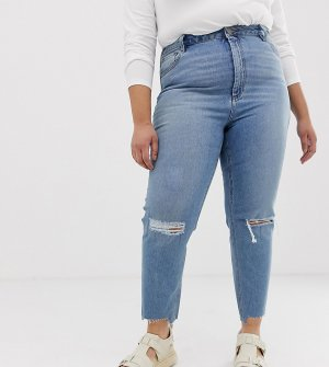 Выбеленные облегающие джинсы в винтажном стиле с завышенной талией и рваной отделкой ASOS DESIGN Curve