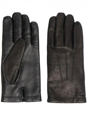 Перчатки с перфорацией Emporio Armani. Цвет: черный