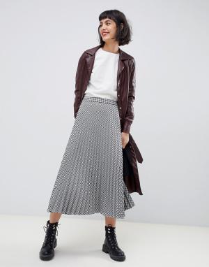 Плиссированная юбка миди в клетку -Мульти Max & Co