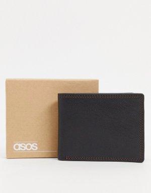 Черный кожаный кошелек с контрастной бордовой отделкой внутри и декоративными швами -Черный цвет ASOS DESIGN