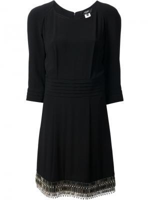 Плиссированное платье-шифт Azzaro. Цвет: чёрный