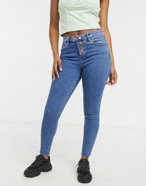 Зауженные синие джинсы на пуговицах Blank NYC-Голубой NYC