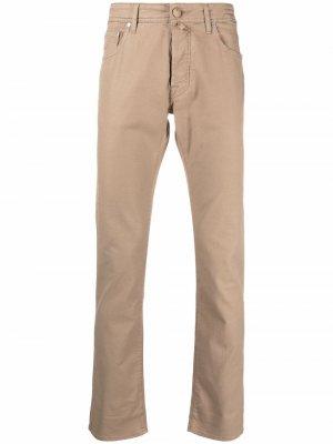 Прямые брюки с нашивкой-логотипом Jacob Cohen. Цвет: нейтральные цвета