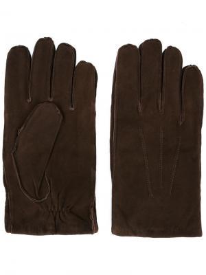 Перчатки с видными швами Orciani. Цвет: коричневый