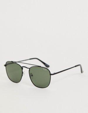 Круглые солнцезащитные очки в черной оправе helios-Черный Quay Australia