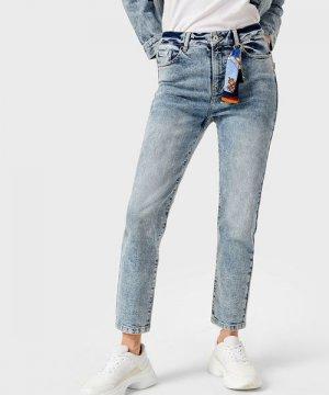 Прямые джинсы с завышенной талией O`Stin. Цвет: голубой
