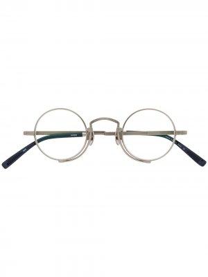 Классические очки в круглой оправе Matsuda. Цвет: синий