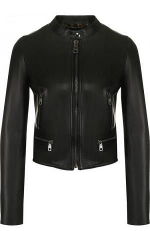 Приталенная кожаная куртка с воротником-стойкой Dolce & Gabbana. Цвет: чёрный