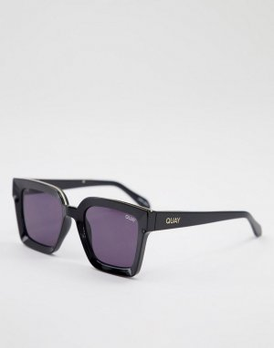 Черные большие квадратные солнцезащитные очки унисекс Quay X Maluma Fools Gold-Черный цвет Australia