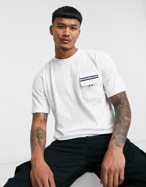 Белая футболка с карманами со светоотражающей полоской Caterpillar-Белый Cat Footwear