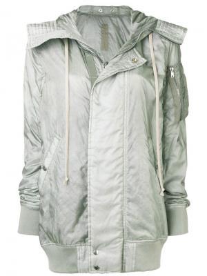 Удлиненная куртка-бомбер с капюшоном Rick Owens DRKSHDW. Цвет: серый