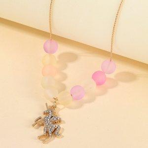 Ожерелье с подвеской единорога для девочек SHEIN. Цвет: золотистый