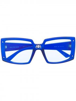 Shield oversized square-frame sunglasses Balenciaga Eyewear. Цвет: синий