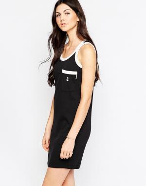 Платье-майка с якорем на кармане и контрастной отделкой See By Chloe. Цвет: черный