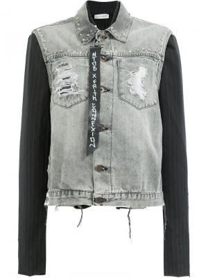 Джинсовая куртка с контрастными рукавами Faith Connexion. Цвет: серый