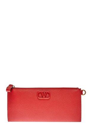 Кошелек VSLING из крупнозернистой кожи с макро-логотипом VALENTINO GARAVANI. Цвет: красный