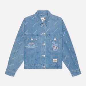 Женская джинсовая куртка Monogram Laser Print All Over & -Sake Embroidered Evisu. Цвет: синий