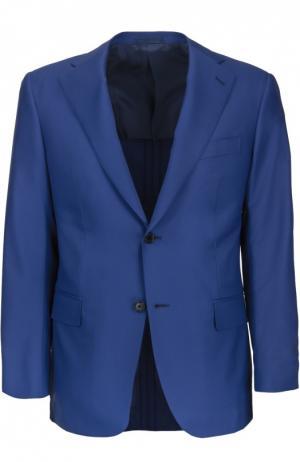 Шерстяной полуприталенный костюм Andrea Campagna. Цвет: синий