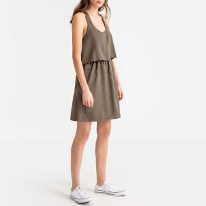 Платье на тонких бретелях, перекрещивающихся сзади KAPORAL. Цвет: серо-коричневый