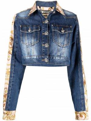 Укороченная джинсовая куртка с принтом Philipp Plein. Цвет: синий