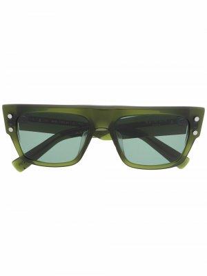 Солнцезащитные очки в квадратной оправе Balmain Eyewear. Цвет: зеленый