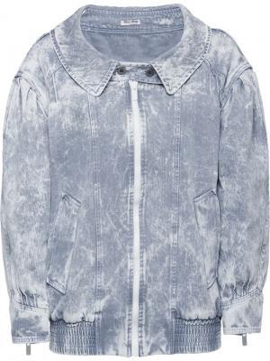 Джинсовая куртка с мраморным эффектом Miu. Цвет: серый
