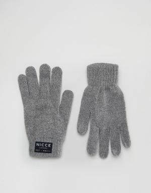 Серые перчатки Nicce London. Цвет: серый