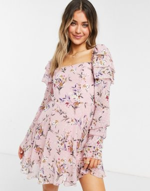 Розовое платье мини с расклешенной юбкой, квадратным вырезом и цветочным принтом -Розовый цвет Forever U
