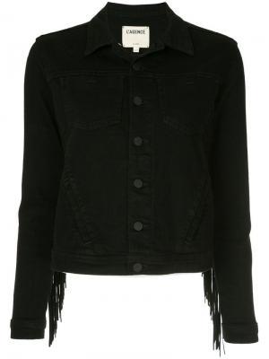 Джинсовая куртка с бахромой L'agence. Цвет: черный