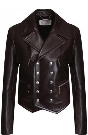 Двубортная кожаная куртка Chloé. Цвет: коричневый