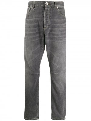 Зауженные джинсы Brunello Cucinelli. Цвет: серый