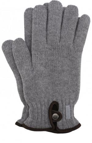 Шерстяные вязаные перчатки Paul&Shark. Цвет: серый