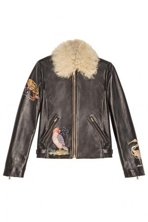 Кожаная куртка с мехом и вышивкой Red Valentino. Цвет: черный