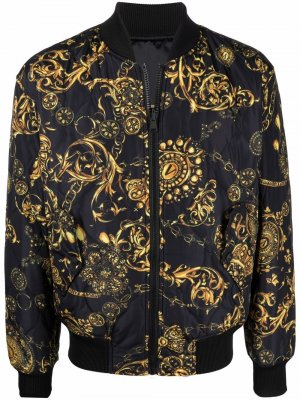 Baroque-pattern print bomber jacket Versace Jeans Couture. Цвет: черный