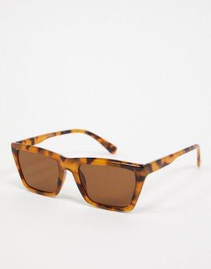 Квадратные солнцезащитные очки в черепаховой оправе с коричневыми стеклами -Коричневый цвет Topman